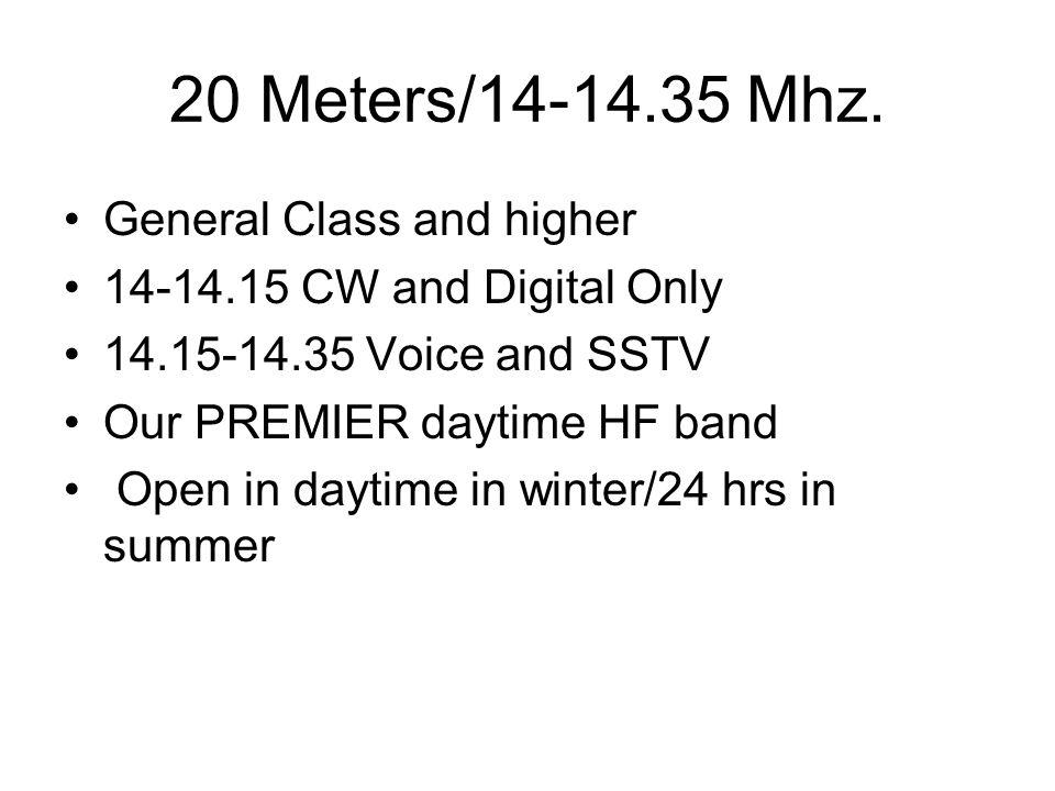 20 Meters/14-14.35 Mhz.