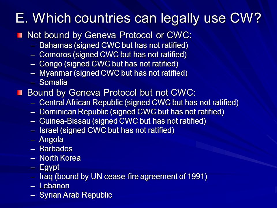 E. Which countries can legally use CW.
