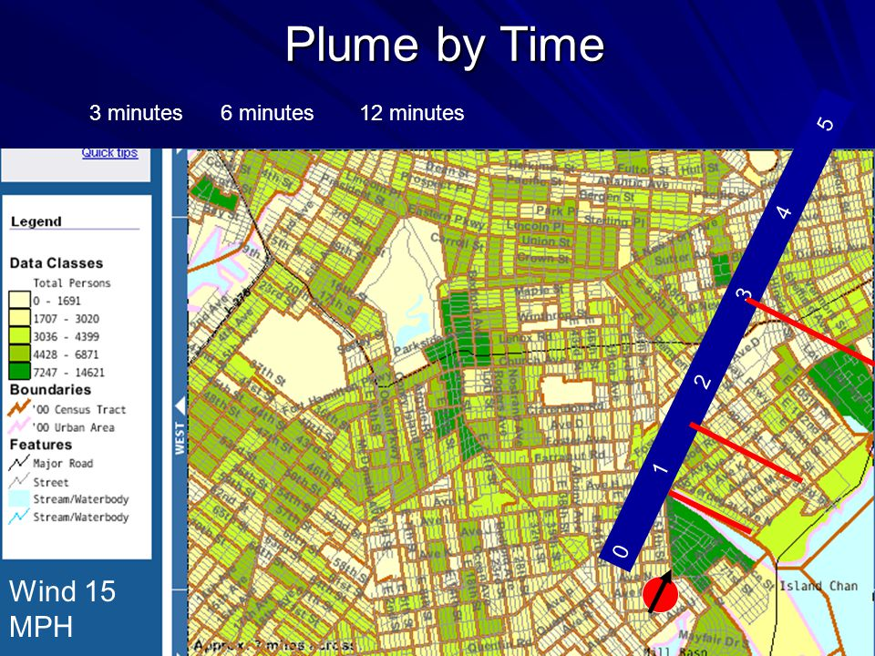 Plume by Time Wind 15 MPH 0 1 2 3 4 5 3 minutes6 minutes12 minutes