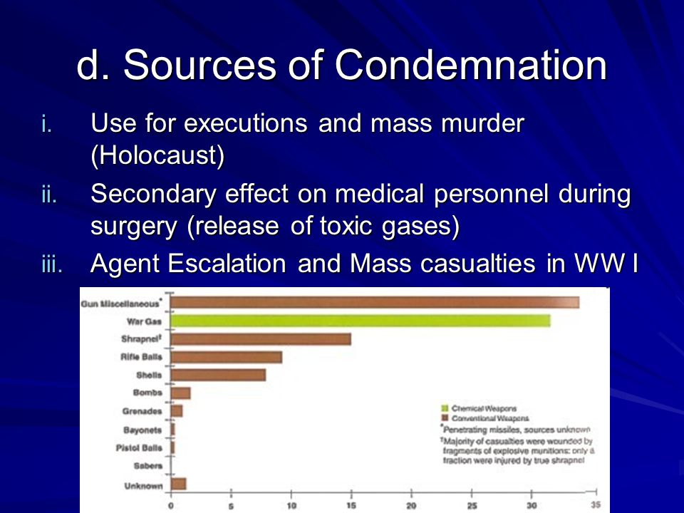 2.Vesicants a. Casualties: i.Mustard: Few in short-term but many over long period.