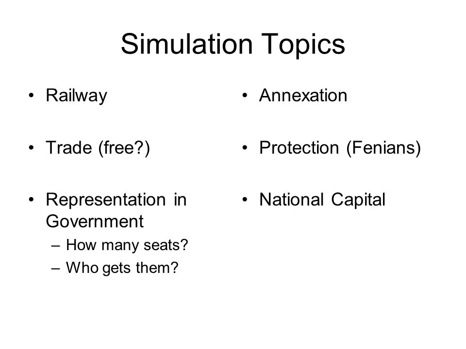 Simulation Topics Railway Trade (free?) Representation in Government –How many seats.