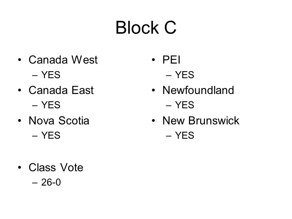 Block C Canada West –YES Canada East –YES Nova Scotia –YES Class Vote –26-0 PEI –YES Newfoundland –YES New Brunswick –YES