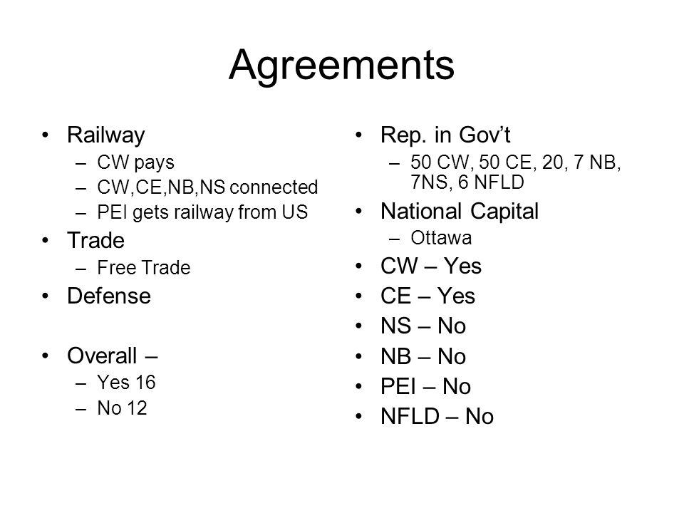 Agreements Railway –CW pays –CW,CE,NB,NS connected –PEI gets railway from US Trade –Free Trade Defense Overall – –Yes 16 –No 12 Rep.
