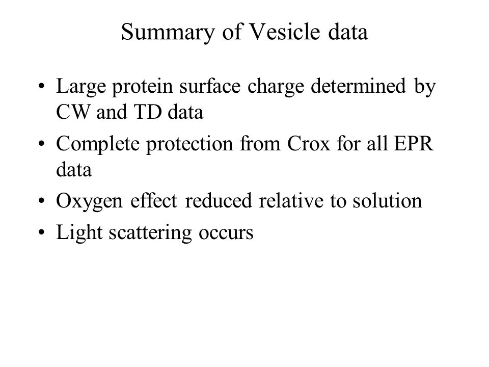 Summary of Vesicle data Large protein surface charge determined by CW and TD data Complete protection from Crox for all EPR data Oxygen effect reduced relative to solution Light scattering occurs