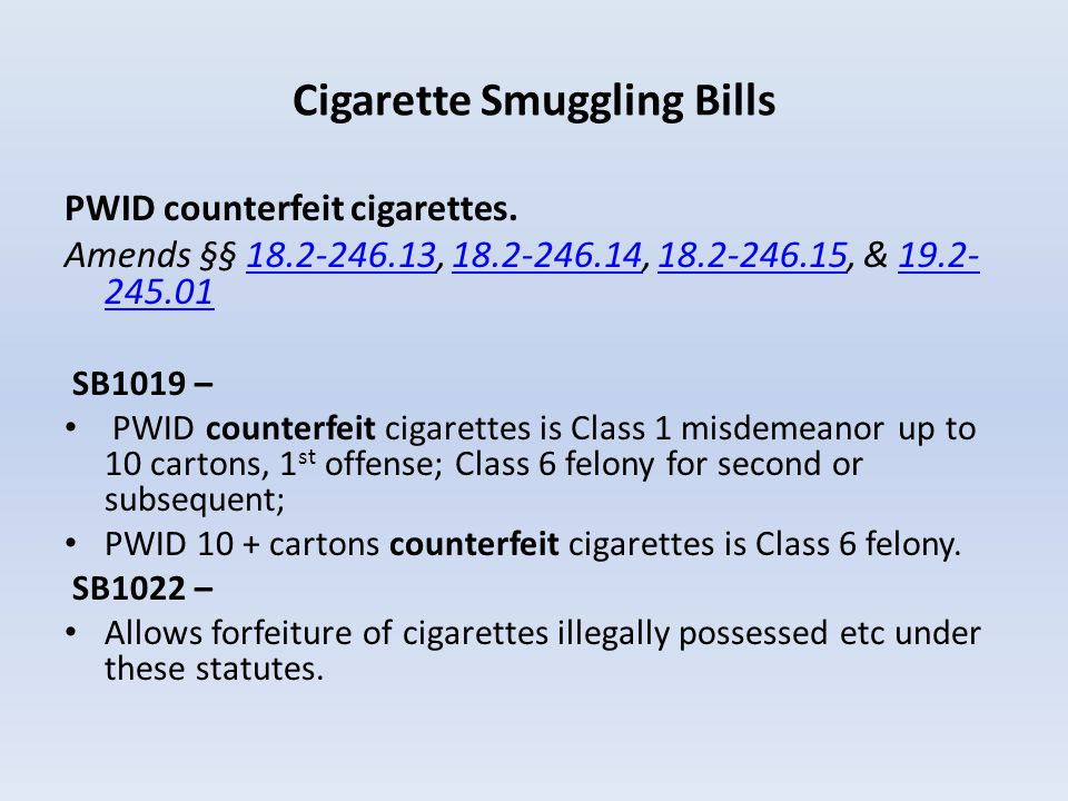 Cigarette Smuggling Bills PWID counterfeit cigarettes. Amends §§ 18.2-246.13, 18.2-246.14, 18.2-246.15, & 19.2- 245.0118.2-246.1318.2-246.1418.2-246.1
