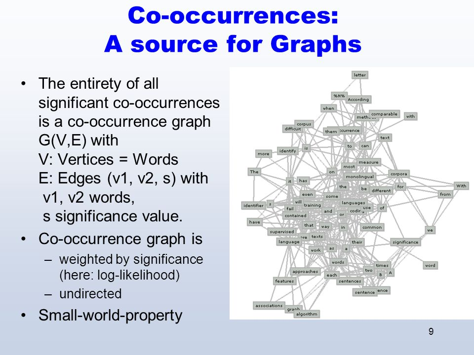 10 Application: Language Seperation Cluster the co- occurrence graph of a multilingual corpus Use words of the same class in a language identifier as lexicon Almost perfect performance