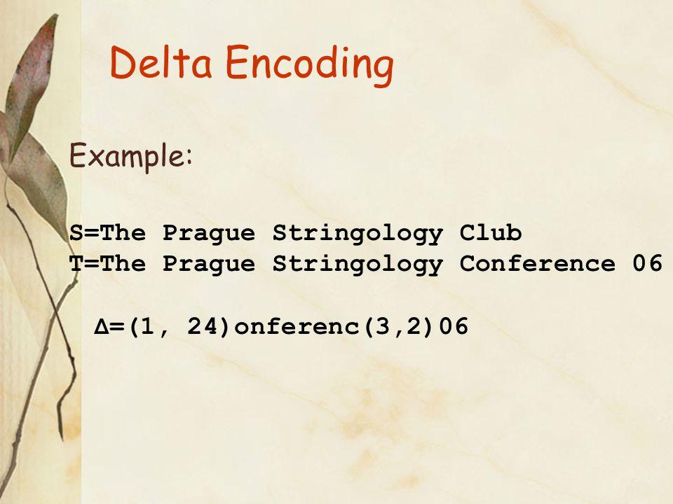 Experiments: S = xfig.3.2.1 T = xfig.3.2.2 |T| = 812K |Gzip(T)| = 325K |LZW(T)| = 497K |Δ(S,T)|  3K