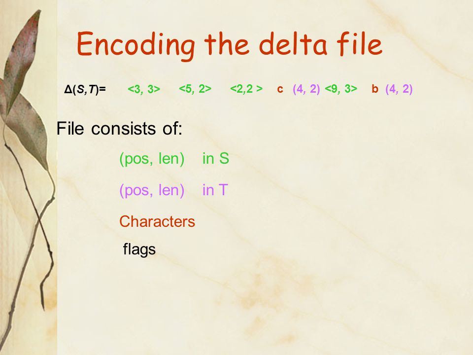 Encoding the delta file Δ(S,T)= (4, 2) (4, 2) <2,2 ><2,2 >cb File consists of: (pos, len) in S (pos, len) in T Characters flags