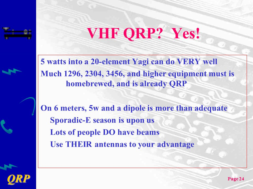 QRP Page 24 VHF QRP? Yes! 5 watts into a 20-element Yagi can do VERY well Much 1296, 2304, 3456, and higher equipment must is homebrewed, and is alrea