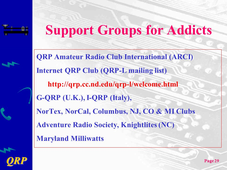 QRP Page 29 Support Groups for Addicts QRP Amateur Radio Club International (ARCI) Internet QRP Club (QRP-L mailing list) http://qrp.cc.nd.edu/qrp-l/w