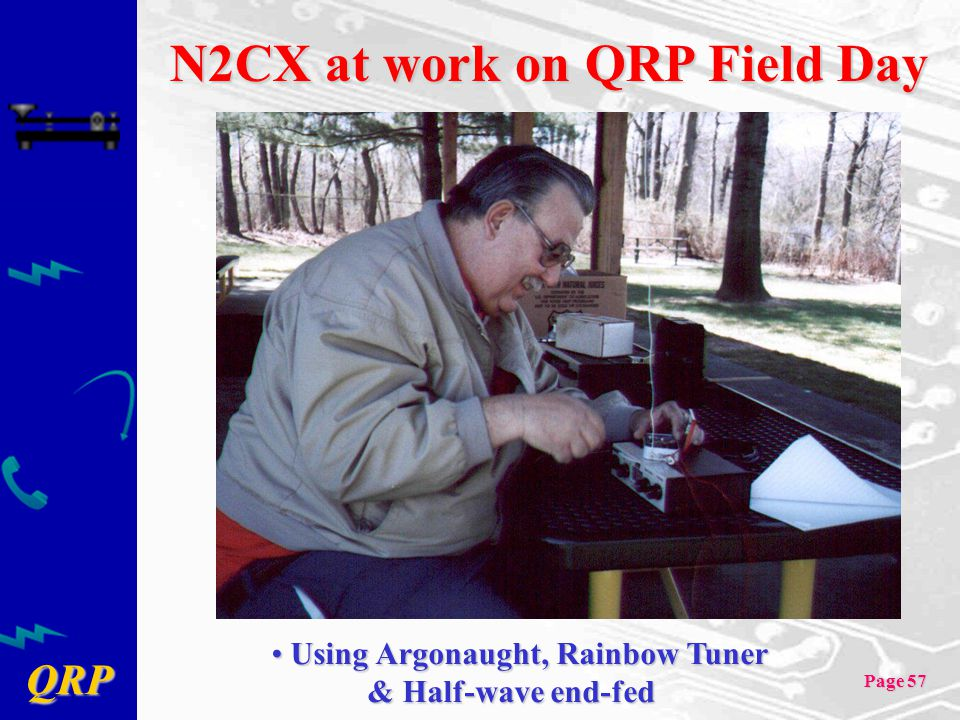 QRP Page 57 N2CX at work on QRP Field Day Using Argonaught, Rainbow Tuner Using Argonaught, Rainbow Tuner & Half-wave end-fed