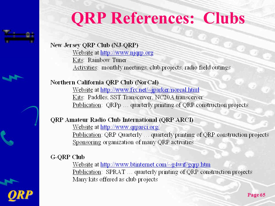 QRP Page 65 QRP References: Clubs