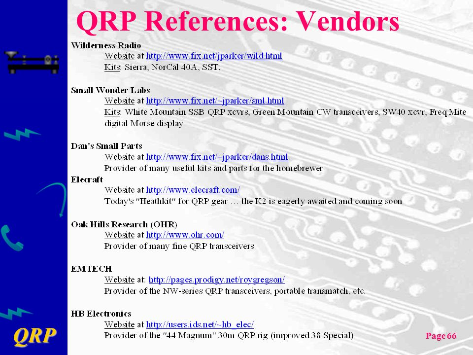 QRP Page 66 QRP References: Vendors