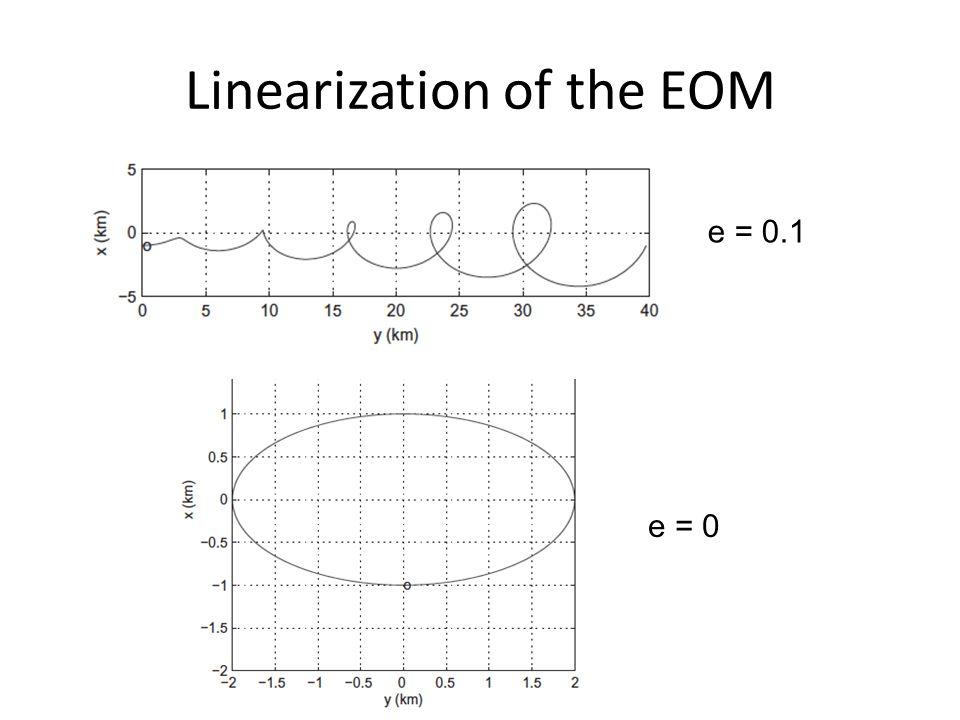 Linearization of the EOM e = 0.1 e = 0