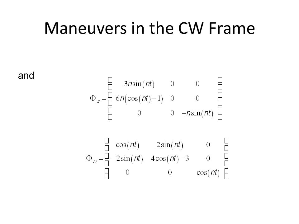 Maneuvers in the CW Frame and