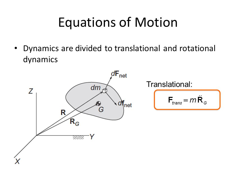 Equations of Motion Dynamics are divided to translational and rotational dynamics Translational: