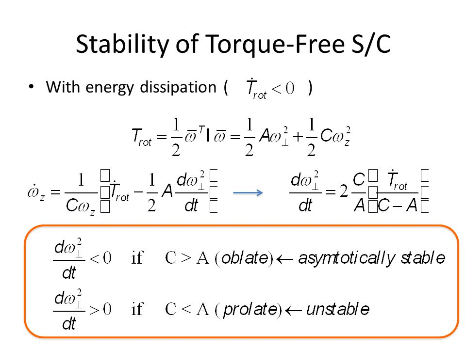 Stability of Torque-Free S/C With energy dissipation ()