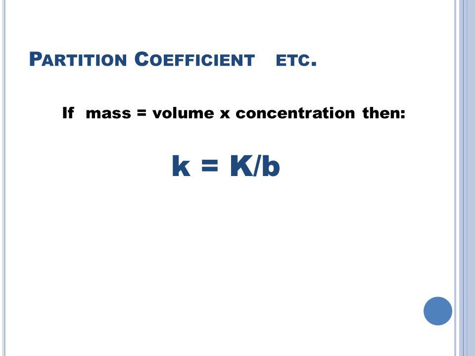 P ARTITION C OEFFICIENT ETC. k = K/b If mass = volume x concentration then: