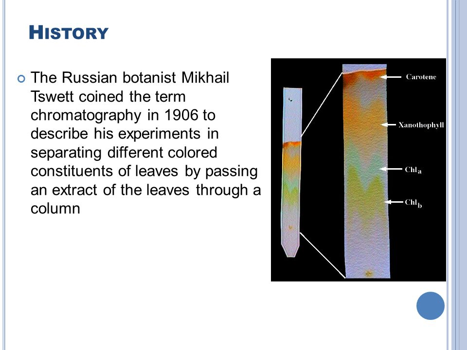 H ISTORY The Russian botanist Mikhail Tswett coined the term chromatography in 1906 to describe his experiments in separating different colored constituents of leaves by passing an extract of the leaves through a column