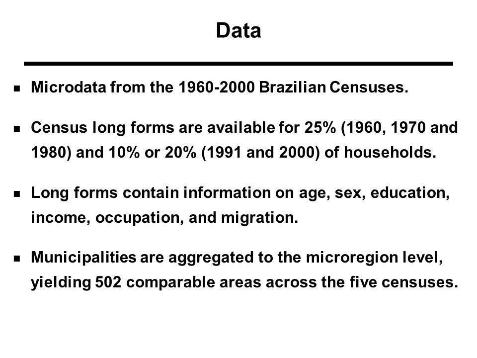 Data Microdata from the 1960-2000 Brazilian Censuses.