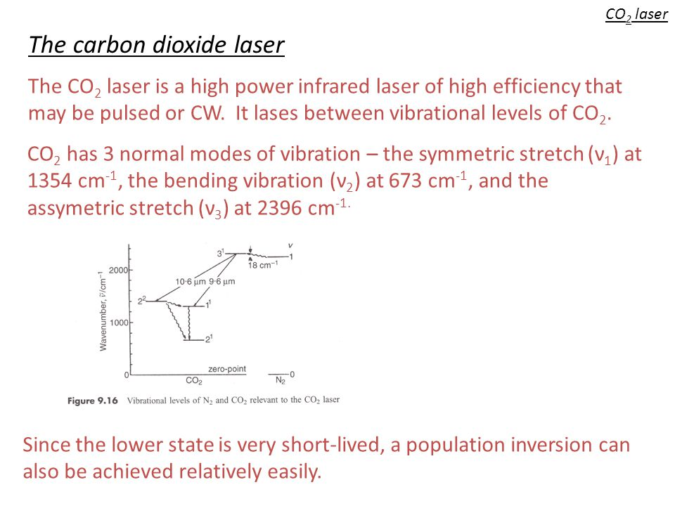 CO 2 laser The carbon dioxide laser CO 2 has 3 normal modes of vibration – the symmetric stretch (ν 1 ) at 1354 cm -1, the bending vibration (ν 2 ) at