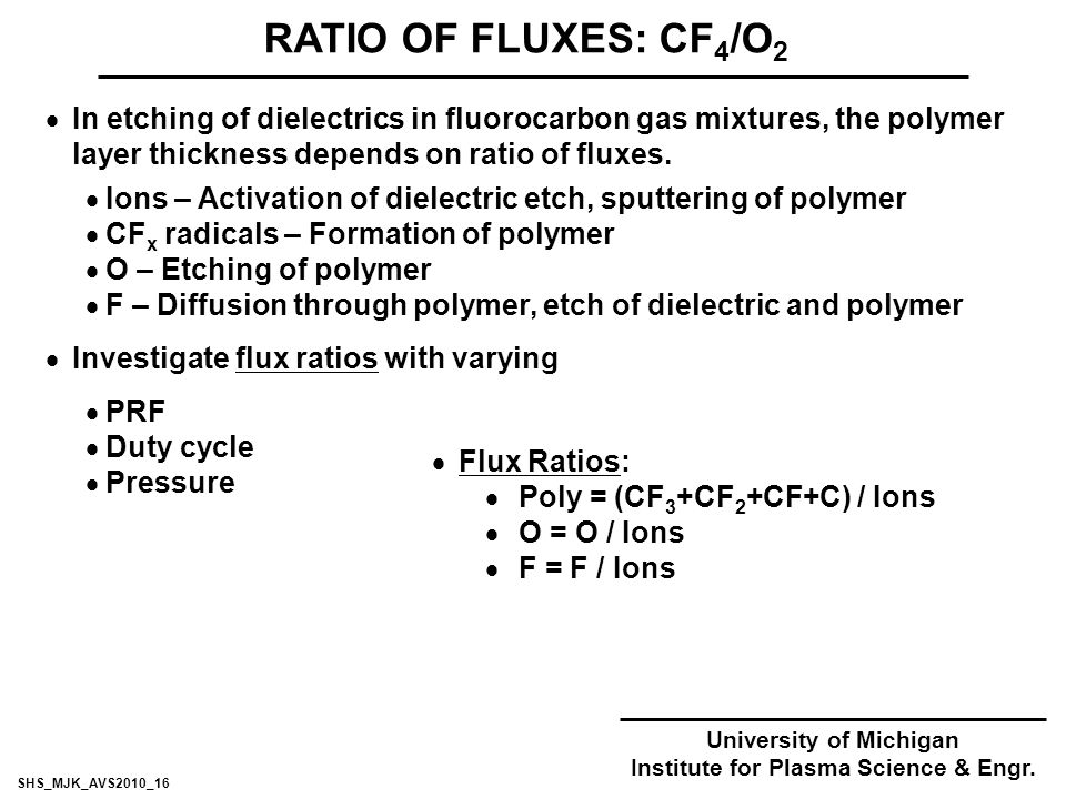  In etching of dielectrics in fluorocarbon gas mixtures, the polymer layer thickness depends on ratio of fluxes.