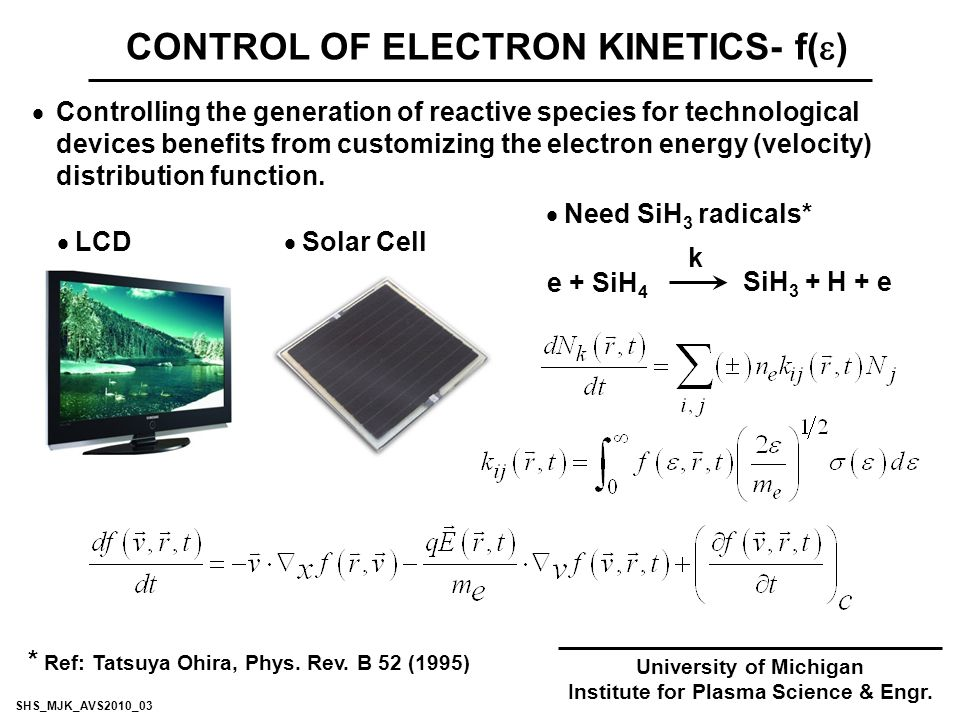 CONTROL OF ELECTRON KINETICS- f(  )  Controlling the generation of reactive species for technological devices benefits from customizing the electron energy (velocity) distribution function.