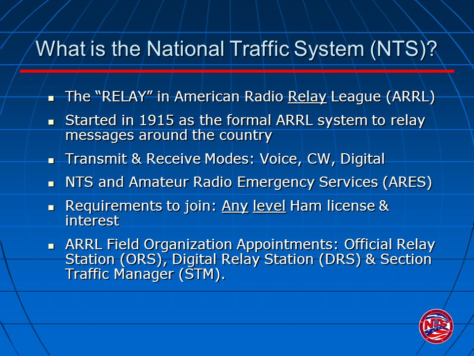 1.Station of Origin: Call sign of station who put the message into NTS format; If N2GS prepares message 1207 for a fellow ham, then puts it onto an NTS packet BBS for relay to Vermont, the originator is...