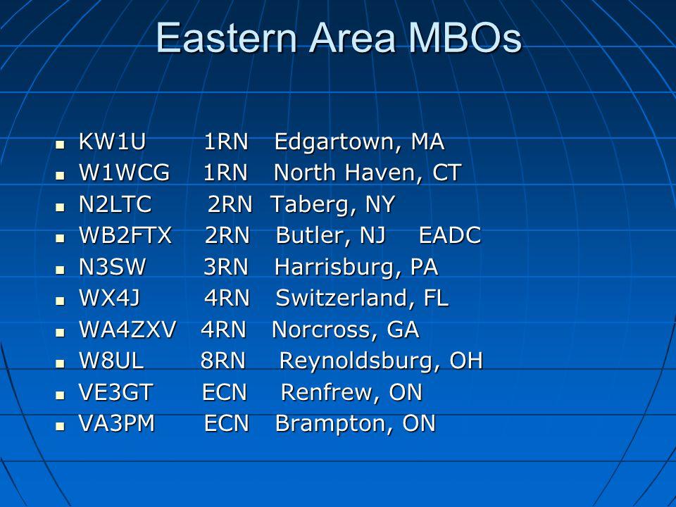 Eastern Area MBOs KW1U 1RN Edgartown, MA KW1U 1RN Edgartown, MA W1WCG 1RN North Haven, CT W1WCG 1RN North Haven, CT N2LTC 2RN Taberg, NY N2LTC 2RN Taberg, NY WB2FTX 2RN Butler, NJ EADC WB2FTX 2RN Butler, NJ EADC N3SW 3RN Harrisburg, PA N3SW 3RN Harrisburg, PA WX4J 4RN Switzerland, FL WX4J 4RN Switzerland, FL WA4ZXV 4RN Norcross, GA WA4ZXV 4RN Norcross, GA W8UL 8RN Reynoldsburg, OH W8UL 8RN Reynoldsburg, OH VE3GT ECN Renfrew, ON VE3GT ECN Renfrew, ON VA3PM ECN Brampton, ON VA3PM ECN Brampton, ON