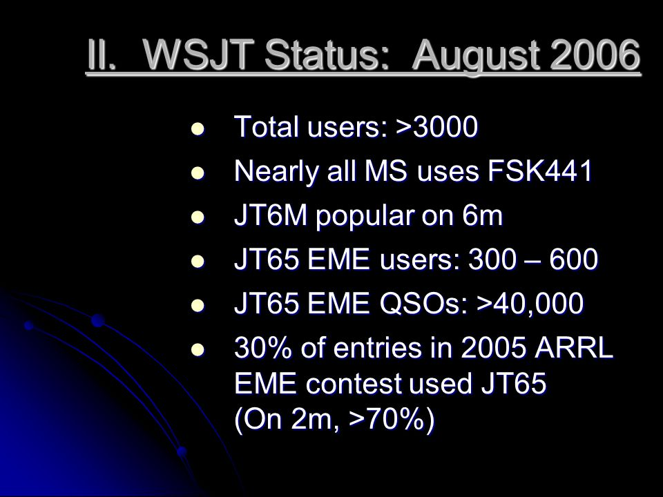 WSJT Milestones 2001: FSK441 for meteor scatter 2002: JT44 for EME 2002: JT6M for MS, ionoscatter on 6 m 2003: JT65 for EME, with FEC 2005: JT65 Deep Search decoder; Open Source release 2006: Linux and FreeBSD versions; many algorithmic improvements