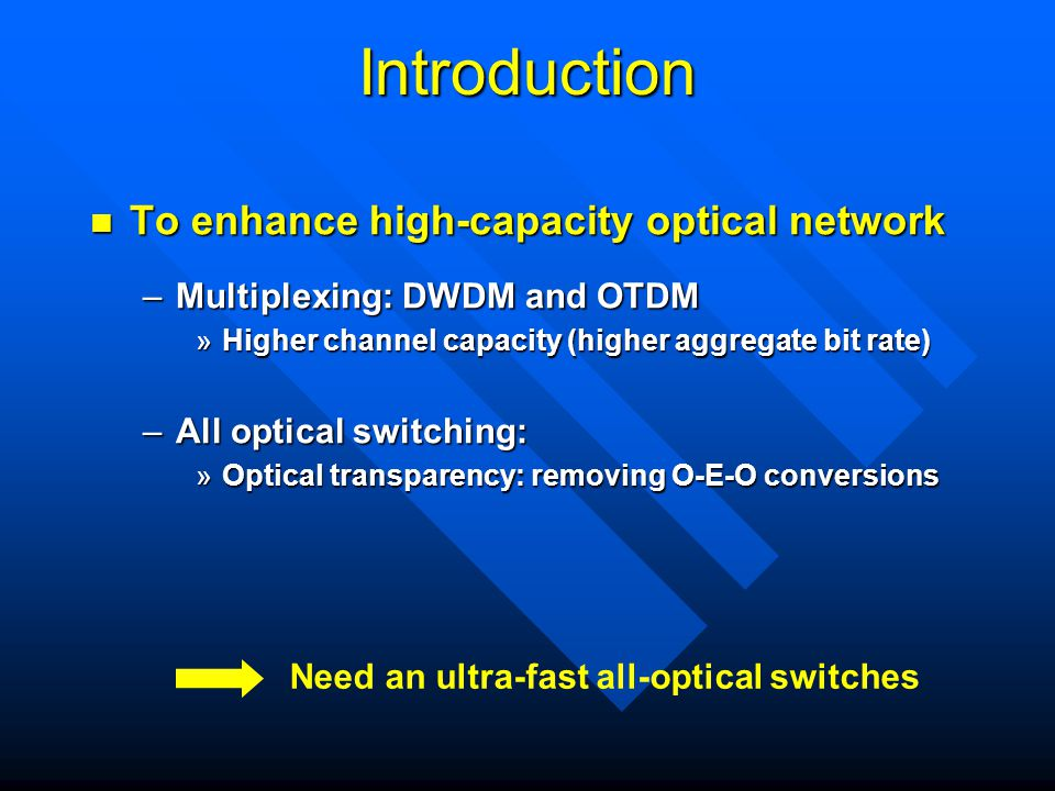 Introduction To enhance high-capacity optical network To enhance high-capacity optical network –Multiplexing: DWDM and OTDM »Higher channel capacity (higher aggregate bit rate) –All optical switching: »Optical transparency: removing O-E-O conversions Need an ultra-fast all-optical switches