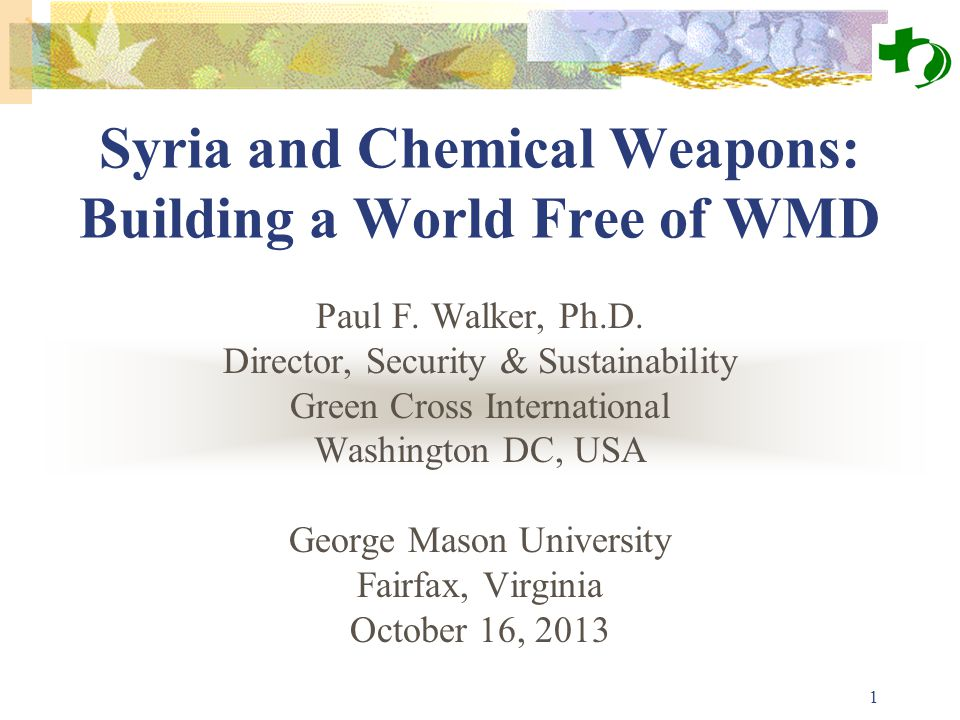 1 Syria and Chemical Weapons: Building a World Free of WMD Paul F. Walker, Ph.D. Director, Security & Sustainability Green Cross International Washing