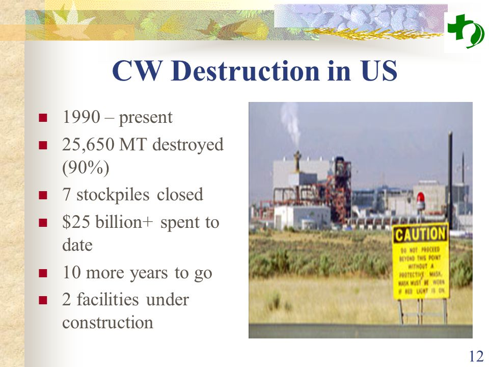 12 CW Destruction in US 1990 – present 25,650 MT destroyed (90%) 7 stockpiles closed $25 billion+ spent to date 10 more years to go 2 facilities under