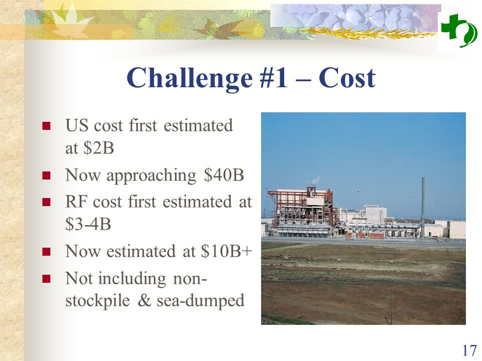 17 Challenge #1 – Cost US cost first estimated at $2B Now approaching $40B RF cost first estimated at $3-4B Now estimated at $10B+ Not including non-