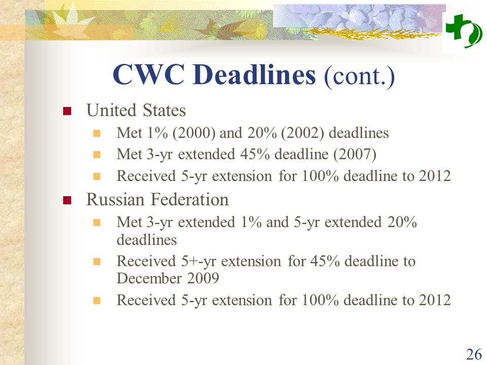 26 CWC Deadlines (cont.) United States Met 1% (2000) and 20% (2002) deadlines Met 3-yr extended 45% deadline (2007) Received 5-yr extension for 100% d