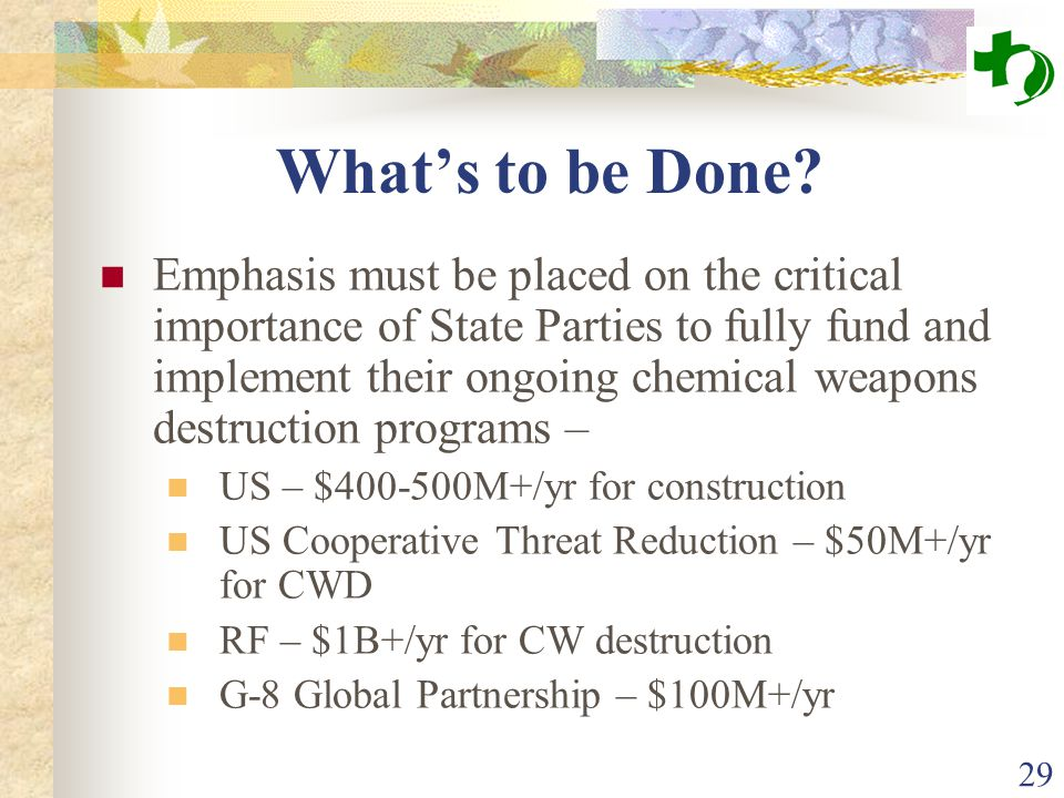 29 What's to be Done? Emphasis must be placed on the critical importance of State Parties to fully fund and implement their ongoing chemical weapons d