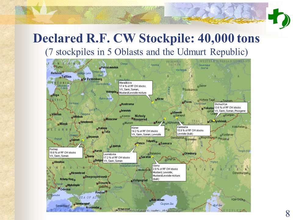 8 Declared R.F. CW Stockpile: 40,000 tons (7 stockpiles in 5 Oblasts and the Udmurt Republic)