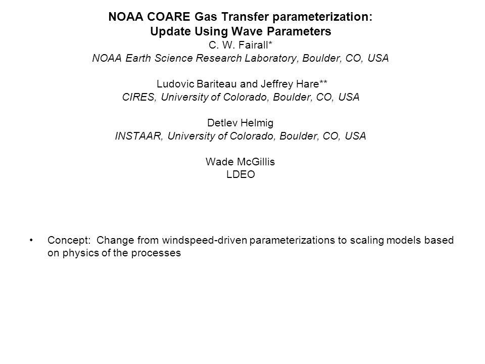 NOAA COARE Gas Transfer parameterization: Update Using Wave Parameters C.