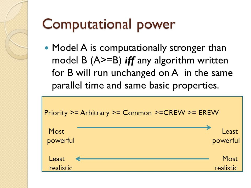 Computational power Model A is computationally stronger than model B (A>=B) iff any algorithm written for B will run unchanged on A in the same parall