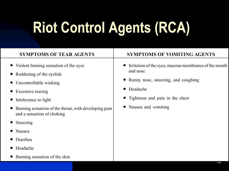 18 Riot Control Agents (RCA)