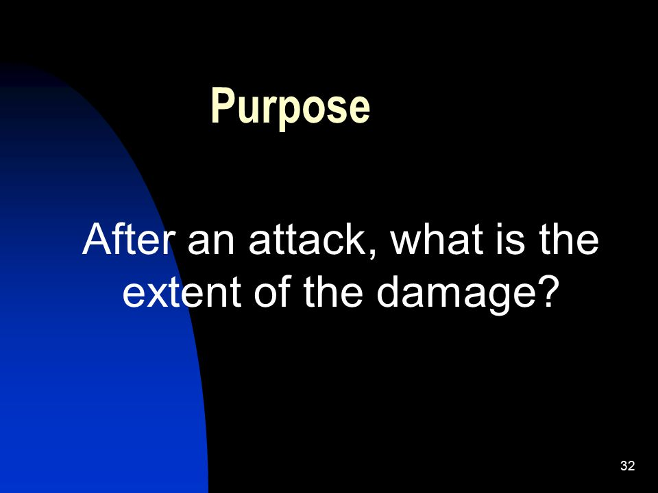 32 Purpose After an attack, what is the extent of the damage?