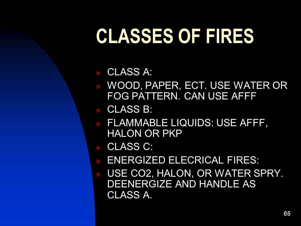 65 CLASSES OF FIRES CLASS A: WOOD, PAPER, ECT. USE WATER OR FOG PATTERN. CAN USE AFFF CLASS B: FLAMMABLE LIQUIDS: USE AFFF, HALON OR PKP CLASS C: ENER