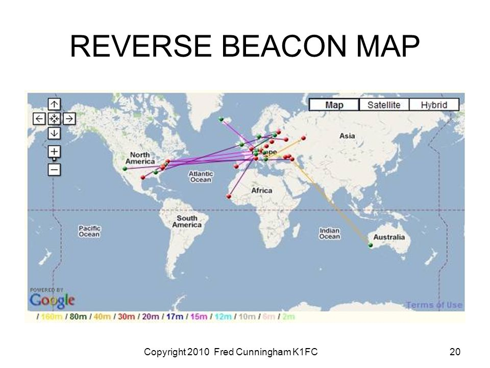 Copyright 2010 Fred Cunningham K1FC20 REVERSE BEACON MAP