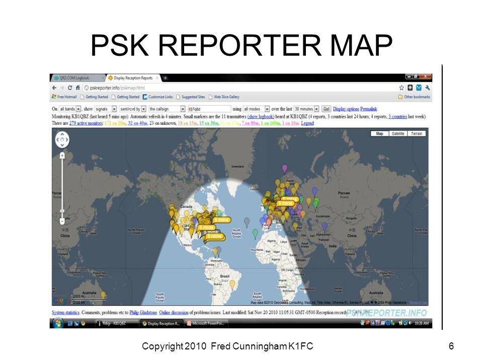 Copyright 2010 Fred Cunningham K1FC6 PSK REPORTER MAP