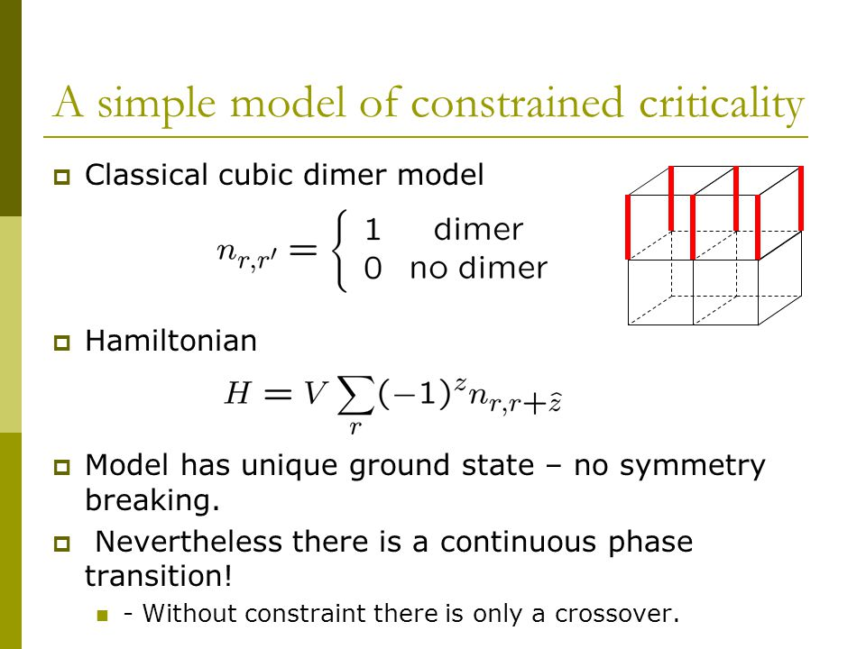 A simple model of constrained criticality  Classical cubic dimer model  Hamiltonian  Model has unique ground state – no symmetry breaking.