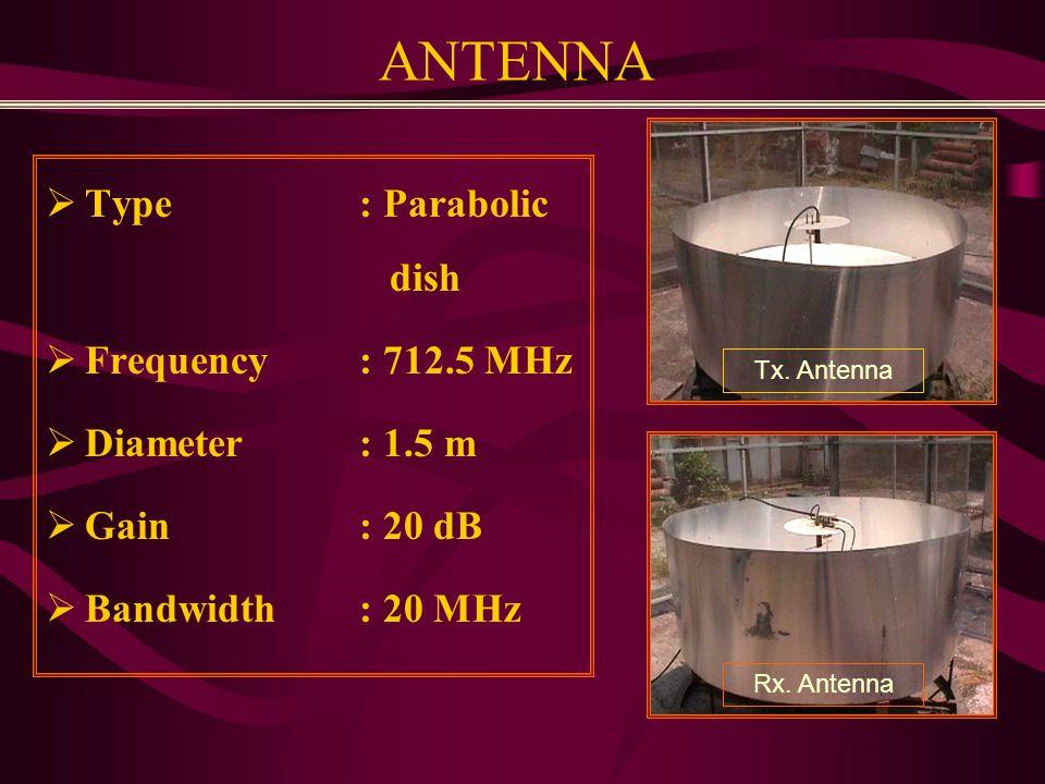 ANTENNA  Type : Parabolic dish  Frequency: 712.5 MHz  Diameter: 1.5 m  Gain: 20 dB  Bandwidth: 20 MHz Tx.