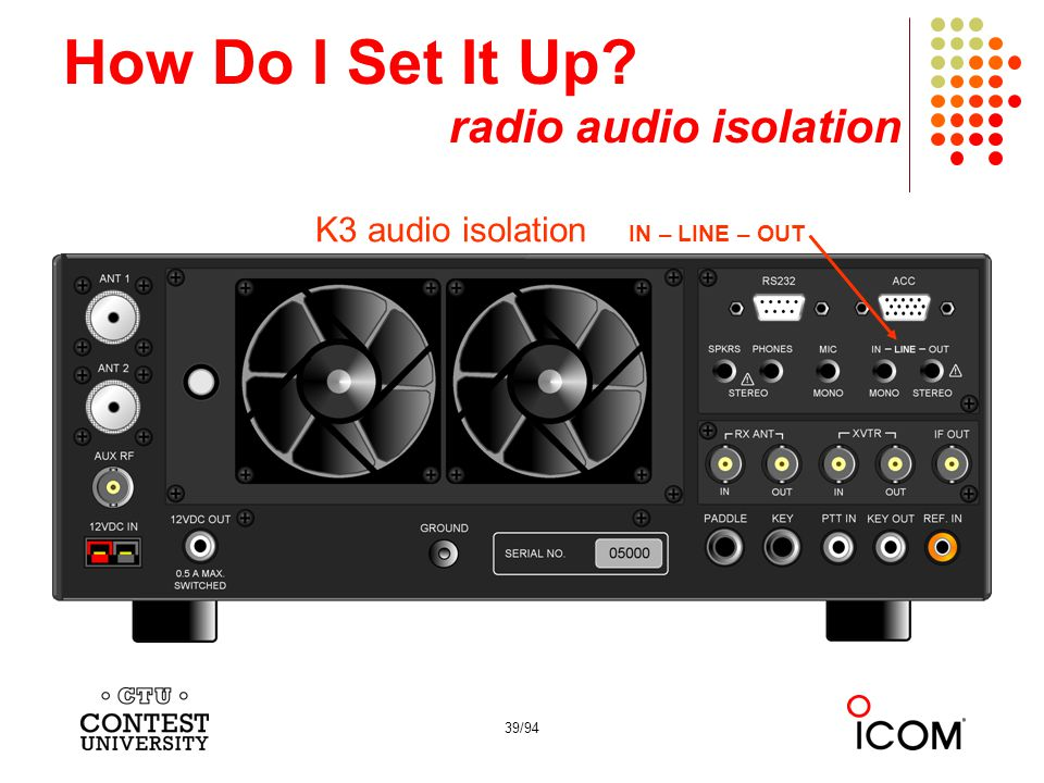 39/94 How Do I Set It Up? radio audio isolation K3 audio isolation IN – LINE – OUT