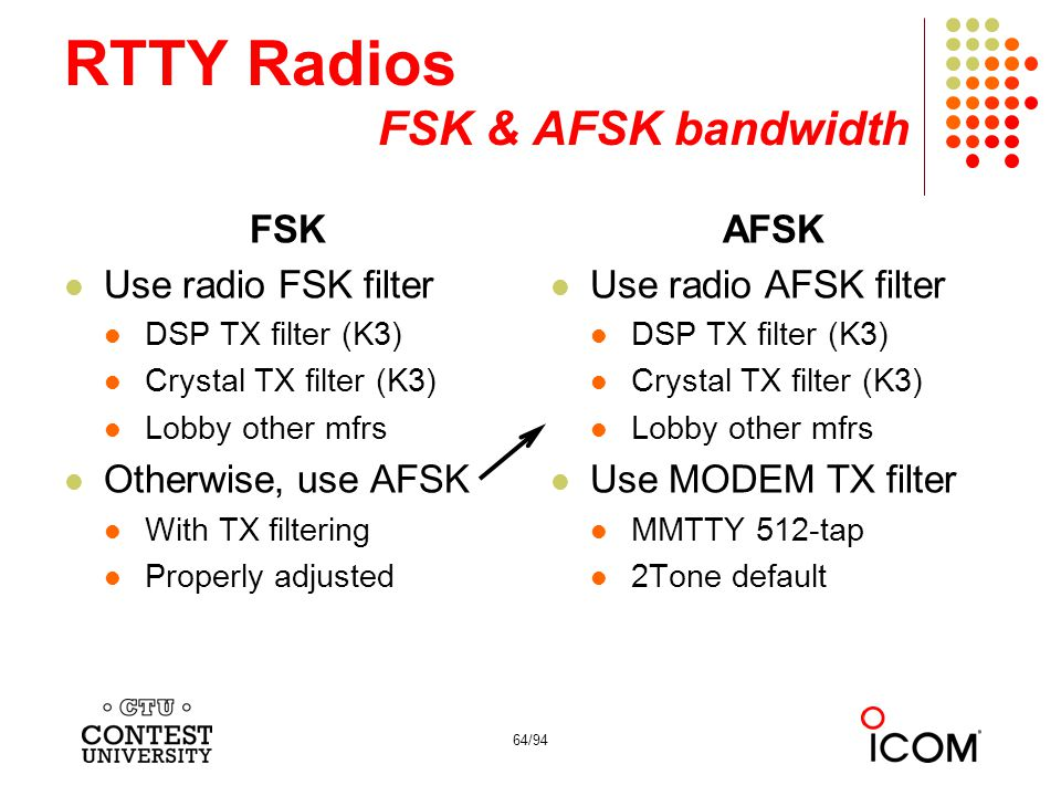 64/94 RTTY Radios FSK & AFSK bandwidth FSK Use radio FSK filter DSP TX filter (K3) Crystal TX filter (K3) Lobby other mfrs Otherwise, use AFSK With TX filtering Properly adjusted AFSK Use radio AFSK filter DSP TX filter (K3) Crystal TX filter (K3) Lobby other mfrs Use MODEM TX filter MMTTY 512-tap 2Tone default