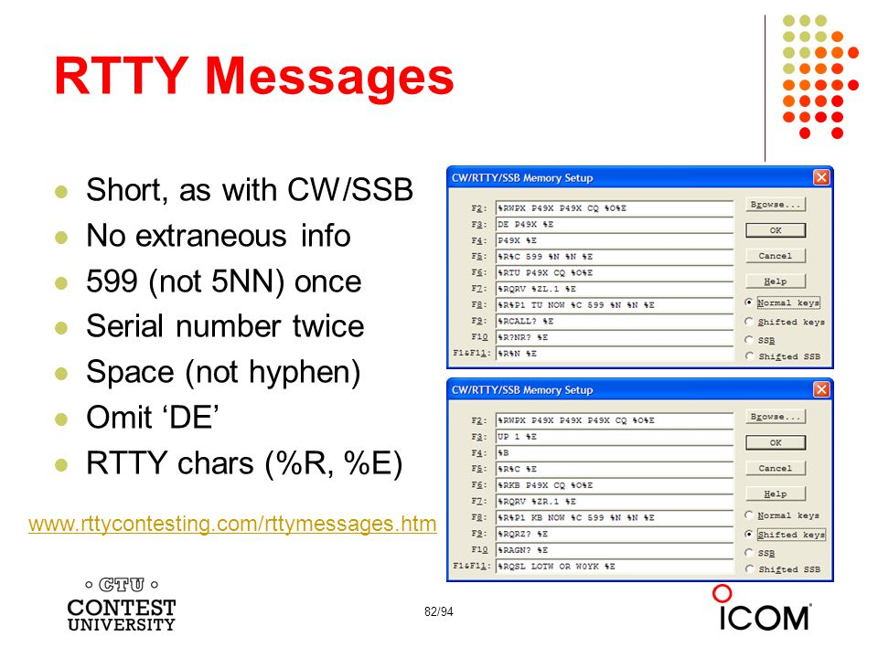 82/94 RTTY Messages Short, as with CW/SSB No extraneous info 599 (not 5NN) once Serial number twice Space (not hyphen) Omit 'DE' RTTY chars (%R, %E) www.rttycontesting.com/rttymessages.htm