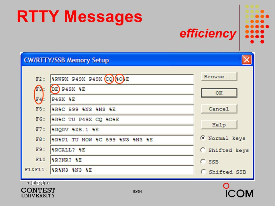 85/94 RTTY Messages efficiency